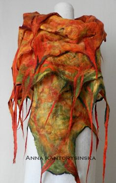 felted scarf shawl FOX handmade art to wear free by kantorysinska, $124.00