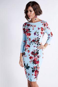 Vestidos de fiesta Matilde Cano 2018 celeste con flores