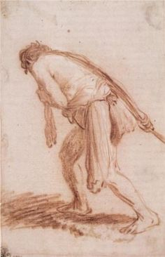 Man Pulling a Rope - Rembrandt, 1628, Wikipaintings