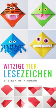 Lesezeichen basteln: Monster und Tier Lesezeichen falten mit Kindern - List of the most creative DIY and Crafts Origami Diy, Origami Simple, Origami Tutorial, Origami Paper, Origami Ball, Origami Boxes, Dollar Origami, Origami Instructions, Origami Ideas