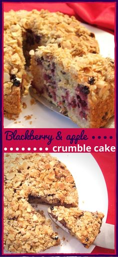 Apple & blackberry crumble cake - a lovely fruity #autumn bake that's delicious as a dessert or with a cup of tea.