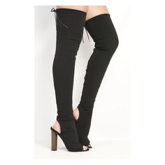 Katarina Peep Toe Knee High Boots at https://www.ikrush.com ($50) ❤ liked on Polyvore featuring shoes, boots, peep toe knee high boots, peep-toe boots, high heel boots, black peep toe boots and knee high boots