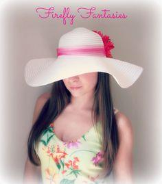 2d7dcf847e1 White Floppy Hat Big Bright Pink Dahlia Kentucky Derby Race Easter Church  Wedding Beach Garden Party