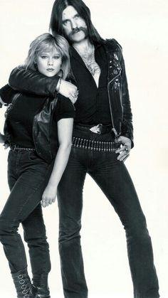 Lemmy Kilmister and British singer, Samantha Fox