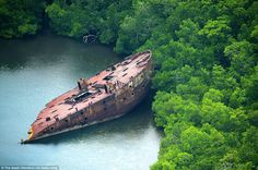 Aerial images have revealed remnants and wrecks from the Pacific conflict in the Second World War, scattered across the Solomon Islands and Northern Mariana Islands. Islands In The Pacific, Pacific Ocean, Abandoned Ships, Abandoned Places, Abandoned Cars, Pearl Harbour Attack, Desert Places, Lost Places, Island Pictures
