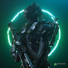 The cool sci-fi character designs and cyberpunk themed creations of Gabriel Punsalang, a freelance artist and motion designer Cyberpunk Kunst, Cyberpunk Girl, Cyberpunk 2077, Science Fiction, Vaporwave Art, E Mc2, Retro Waves, 3d Artwork, Sci Fi Characters