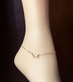 Beautiful Gold Anklet 'Love'-16K Gold Plated Chain & Pendant-Optional Extender-Gold Plated Anklet/Bracelet/Chain-Foot Bracelet-With Gift Box by Studio007 on Etsy