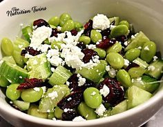 Edamame Cranberry Feta Salad | Only 183 Calories | Protein-packed Meal| Sweet, Savory, Crunchy | #Vegetarian | For Nutrition & Fitness Tips & RECIPES please SIGN UP for our FREE NEWSLETTER www.NutritionTwins.com