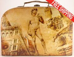 Vintage travel suitcase Retro travel luggage by TheBlackHatDesign