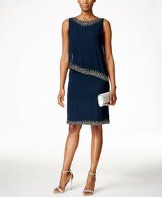 J Kara Beaded Capelet Dress $169.99 J Kara's sheath dress boasts another layer of sophistication thanks to an asymmetrical overlay and beautiful beaded details.