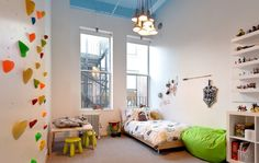 Kids bedroom with rock climbing wall