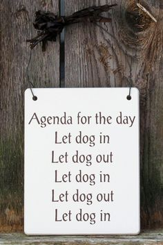 Get a doggie door :-P Wooden Agenda for the Day Dog Signs, Paws pet boutique