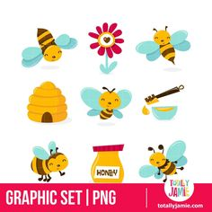 Honey Bee Characters And Icons PNG Set/ Instant Download by totallyjamie on Etsy