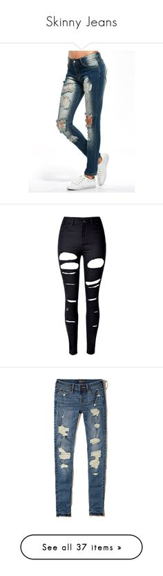 """""""Skinny Jeans"""" by lacie-nicole ❤ liked on Polyvore featuring jeans, pants, rosegal, bottoms, torn skinny jeans, white destroyed skinny jeans, destructed skinny jeans, white super skinny jeans, white ripped skinny jeans and calças"""