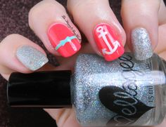 Pink and Silver nautical nail art manicure | Be Happy And Buy Polish http://behappyandbuypolish.com/2015/06/29/neon-and-sparkly-nautical-nail-art/
