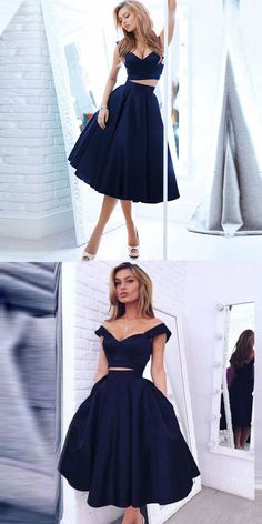 Vintage Style A-line Two-piece Black Homecoming Dresses Gorgeous Off-the-shoulder A-line Dark Navy Homecoming/Evening Dress,199