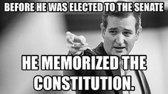 I checked it out and it's true, Ted Cruz actually memorized the United States constitution..... He cares that much... #TedCruz2016 from aa.