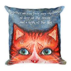 Cat Pillow, Square Pillow, Pillow with Cat, Quote Pillow, Decorative Pillow, Gift Idea, For Cat Lovers, Inspirational Quote, Cat Quote, Cat