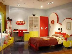 Cool Mickey mouse room- I like the low mattress on floor that could be used for JL or a reading nook