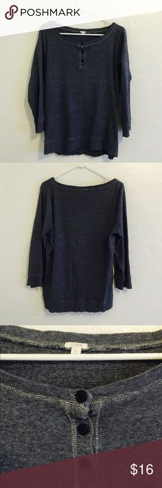 J. Crew Pullover J. Crew Pullover in dark navy and white woven cotton. Top button closure in a comfy loose fit pullover. Perfect condition with no issues. Measures 24 inches from underarm to underarm and 26 inches long. J. Crew Tops