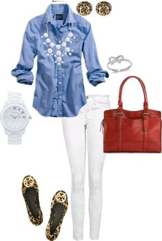 Clean blue, fresh white jeans, and leopard print. - Great outfit for summer Komplette Outfits, Spring Outfits, Casual Outfits, Fashion Outfits, Womens Fashion, Girly Outfits, Fasion, Fashion Scarves, Petite Fashion