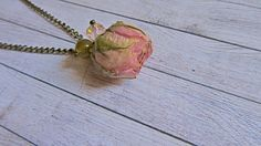 New to ArtOreCrafts on Etsy: Organic jewelry pink real rose necklace Tiny flower pendant Gift for women Rose gift for her Girlfriend gift rose Mother Birthday gift (24.00 USD)