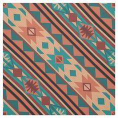 Southwest Tribal Pattern Turquoise Terracotta Fabric