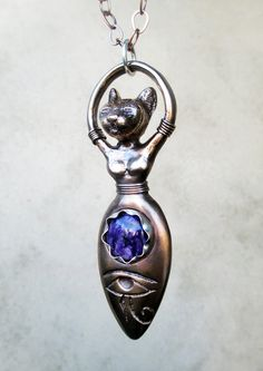 Bast Goddess with Charoite and Eye of Horus by SilviasCreations, $198.00