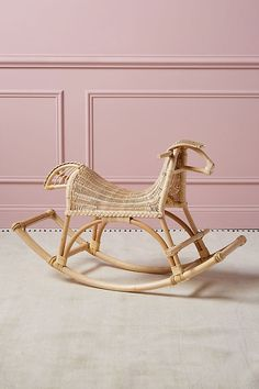 Crafted from rattan, this heirloom-quality rocking sheep will delight your little ones for years to come. Rattan Furniture, Baby Furniture, Anthropologie, Amelie, Horse Nursery, Nursery Wall Decor, Bedroom Decor, Little Girl Rooms, Art Wall Kids