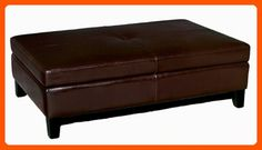 Full Leather Cocktail Storage Ottoman, Espresso Brown - Improve your home (*Amazon Partner-Link)