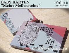 """Babytagebücher - BABY KARTEN """"Meilensteine"""" zum Ausfüllen 40 Stück - ein Designerstück von KleineFabrik bei DaWanda"""