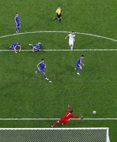"BT Sports: ""Stunning aerial shot of Lionel Messi's goal vs Bosnia last night."""