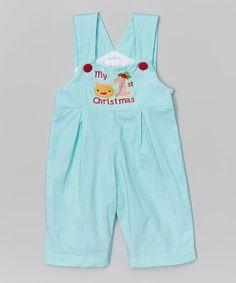 Look at this #zulilyfind! Turquoise 'My 1st Christmas' Shortalls - Infant #zulilyfinds