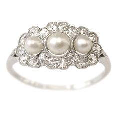 Alice #Vintage #Pearl and #Diamond Engagement Ring