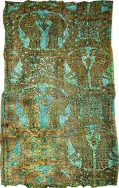 Paired Birds in Interlace Roundels, 13th century Islamic textile