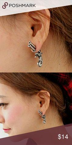 Steampunk Revolver Earrings Unique earrings. One earring is the revolver, the other earring is the bullet Jewelry Earrings