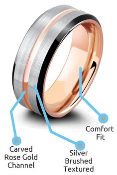 This men's wedding ring is made out of tungsten carbide and features a rose gold carved center channel with a silver brushed texted sides running parallel to the channel. He really wants a tungsten wedding ring and wants both silver and rose gold. This men's ring is perfect for him. #mensweddingring #ringsforhim #mensrings #giftsforhim #weddingrings