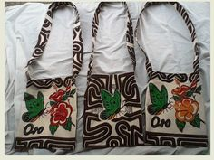 Beautiful tapa bags with Oro Province design & iconic Birdwing butterfly sold by MarketMeri