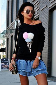 Denim Skirt, Vogue, Sweatshirts, Skirts, Women, Fashion, Tunic, Moda, Skirt