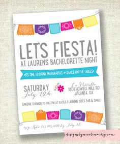 Lets Fiesta /// Mexican Banner Bachelorette Party or Lingerie Shower Invire /// by Designs by Nicolina
