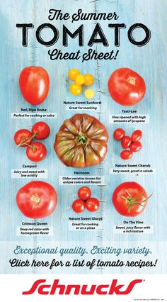 Do you know the differences between the different types of tomatoes! Check out the cheat sheet and click through to find some delicious recipes from us here at Schnucks! #schnuckscooks #tomato #recipes