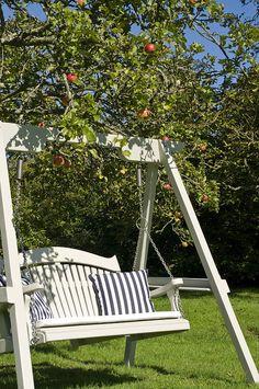 The Harmony Painted Pine Garden Swing Seat Backyard Swings, Backyard Seating, Garden Seating, Backyard Ideas, Outdoor Bench Swing, Garden Swing Seat, Outdoor Decor, Arbor Swing, Garden Swings