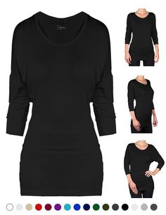 SEJORA Boatneck Convertible Short Sleeve Dolman Tunic Top - Many Colors & Prints (X-Large, Black 3/4)