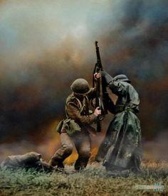 Схватка между польским и немецким пехотинцем в битве при Млаве, Северная Польша, сентябрь 1939 года.