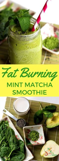 This mint matcha smoothie recipe is great for weightloss and fat burning. It makes for a high energy healthy breakfast drink that is high in protein. Recipe is vegan paleo gluten-free and low carb. Smoothie Vert, Matcha Smoothie, Tea Smoothies, Green Smoothie Recipes, Smoothie Detox, Smoothie Drinks, Healthy Smoothies, Green Smoothies, Detox Drinks