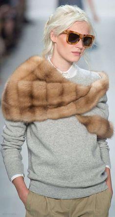 Michael Kors Runway Mink Stole Grey Cashmere Sweater Tortoiseshell Glasses-1