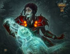 """Soul Trap by Kerem Beyit kerembeyit_""""Fel magic has a profound effect on the soul—both the victim's and the warlock's.""""  Card art for the WOW TCG Timewalkers: War of the Ancients Set  © 2013 Blizzard Entertainment, Inc.  © 2013 Cryptozoic Entertainment.  2d, fantasy, dark elf, magic  by  Kerem Beyit"""