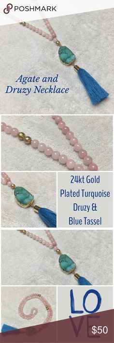 """Agate & Druzy Tassel Necklace This necklace is fabulous! It has pink agate & gold beads forming the necklace with a gorgeous turquoise Druzy & blue tassel forming the drop. The Druzy is plated in 24kt gold! The beaded necklace is about 28"""" long & the Druzy & tassel measure about 5""""-6"""". Agates healing properties balance a calming energy to ease anxiety & provide courage, strength & hope! This listing is for 1 Necklace. Other Colors Available! Made in the USA ✨New From Retailer Without Tags✨…"""