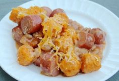 Hot Dog Tater Tot Casserole   27 Tater Tot Recipes That Will Change Your Life  http://kidscooking.about.com/od/hot_dog_recipes/r/Hot-Dog-Tater-Tot-Casserole-Recipe.htm