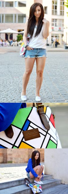 """Rebekah Wing, blogger from """"Flirting With Fashion"""", rocks our Mondrian+ing handbag by Sofia Neves!"""